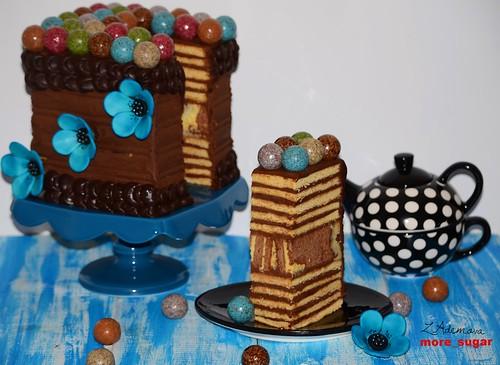 Layered chocolate marble truffle cake