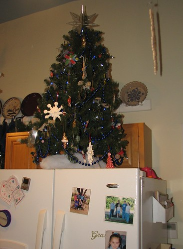 cookies and candy tree on top the fridge