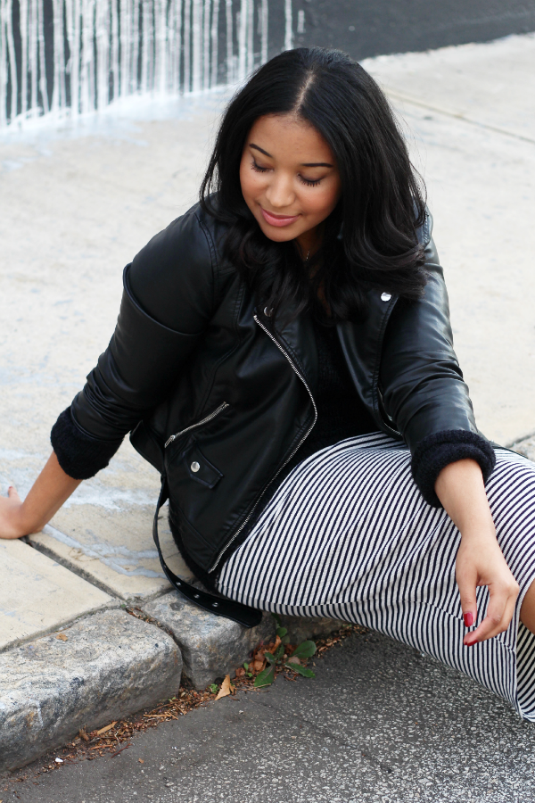 Black Moto Jacket & Midi Skirt