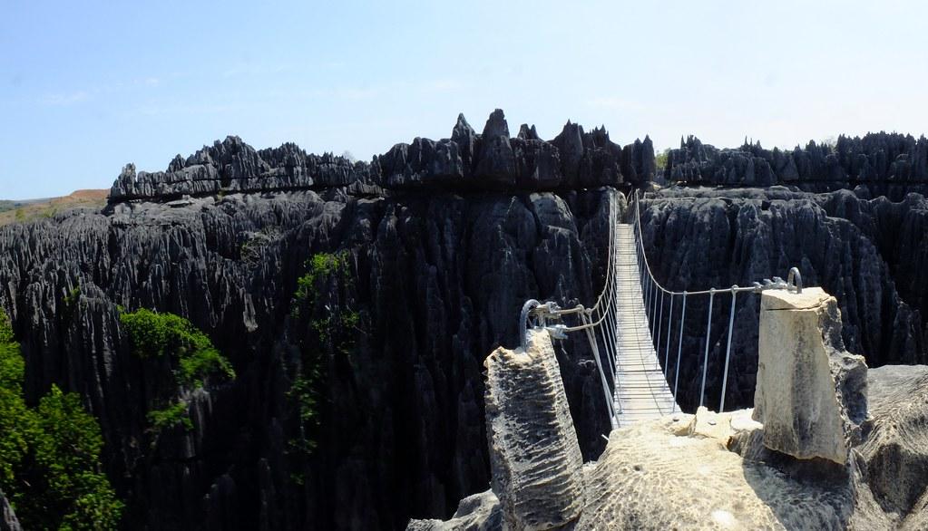 Panorama: Rope Bridge at Tsingy de Bemaraha