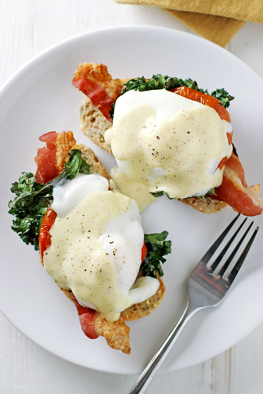 (Healthier) Bacon, Kale and Roasted Tomato Eggs Benedict | girlversusdough.com @stephmwise