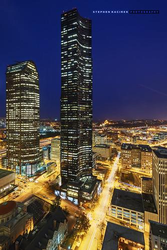 seattle nightphotography bluehour downtownseattle columbiatower nikond600 aerialseattle