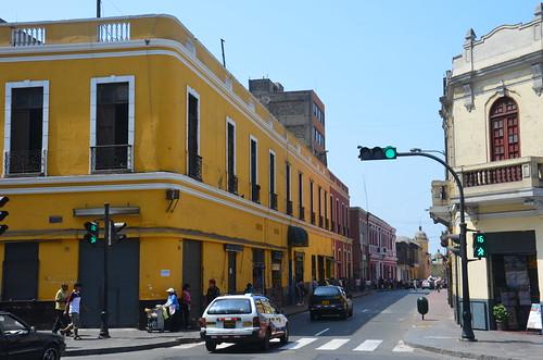 Blick auf die Strassen der Altstadt Lima