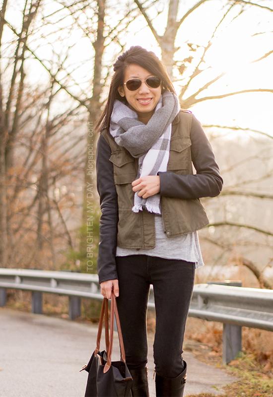 oversized plaid scarf, leather sleeved military jacket, black boots