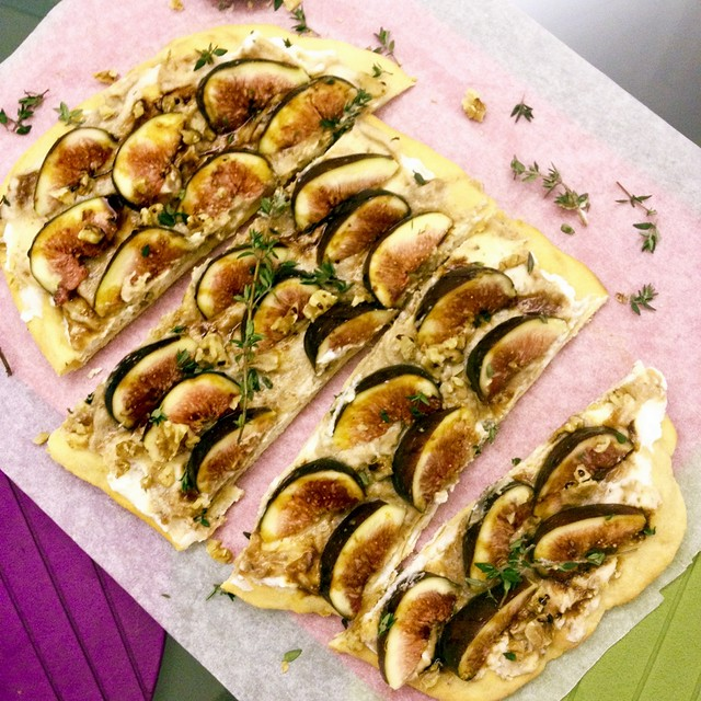 2-Ingredient Pizza Crust: Figs & Ricotta Pizza with Balsamic Fig Compote & Balsamic Reduction