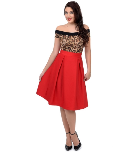 Red High Waist Pleated Blair Midi Skirt