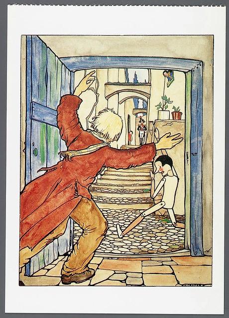 016- Tarjeta postal- imagen de Pinocho- Rie Cramer- Memory of the Netherlands