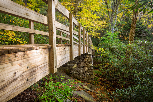 bridge autumn fall hike blueridgeparkway brp roughridge ourstate visitnc
