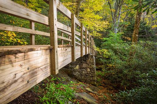 bridge autumn fall hike blueridgeparkway brp roughridge ourstate visitnc
