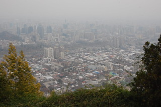 Cloudy and Smoggy View from Cerro San Cristobal, Santiago, Chile