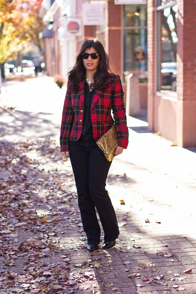 plaid blazer, flared jeans, sequined clutch.jpg