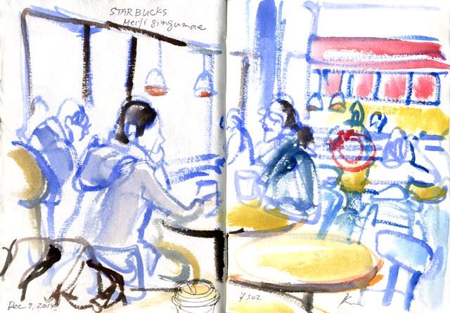 at Starbucks Meijijingumae