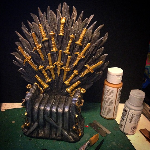 Finishing up the paint on my mini Iron Throne! #WIP #GOT #sculpture
