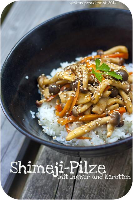 Shimejipilze mit Ingwer und Karotten