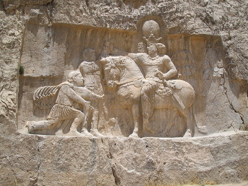 A mural depicting Emperor Valerian asking for grace of Shapur represented on horseback