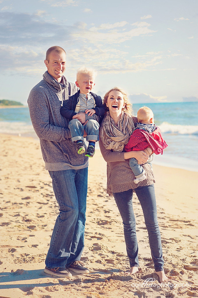 Colorful family portrait on West Michigan Beach photography