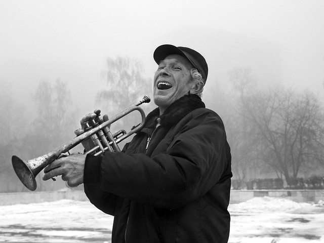 Trumpet player in a good mood (PB060109) bw
