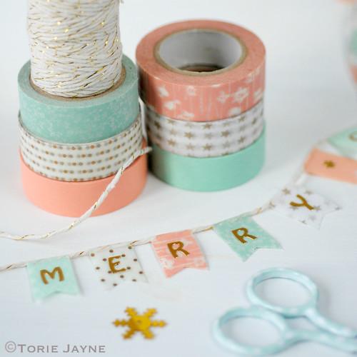 Christmas washi tape bunting
