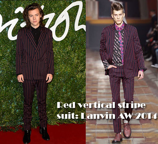 Harry-Styles-in-Red-vertical-stripe-suit-Lanvin-Fall-Winter-2014,two piece striped Lanvin suit, black Saint Laurent leather harness boots, Saint Laurent leather harness boots, Lanvin Fall Winter 2014 collection, red vertical striped suit, striped suit, vertical stripe suit, Lanvin suit
