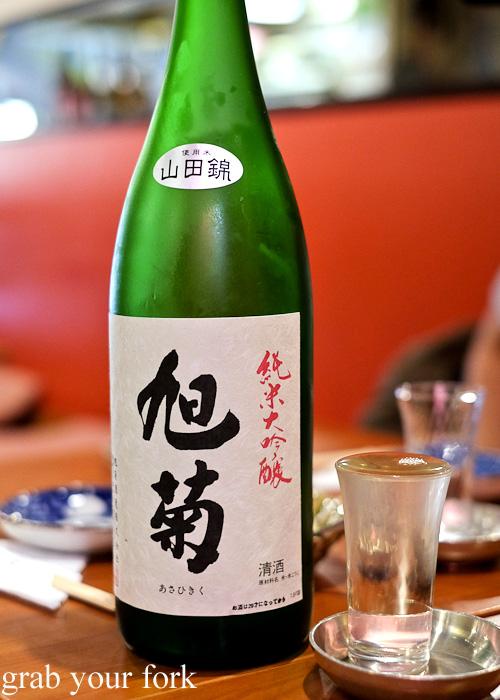Asahigiku junmaishu sake at Nom, Darlinghurst