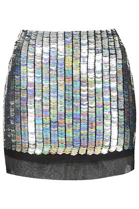 topshop armour sequin pelmet skirt silver