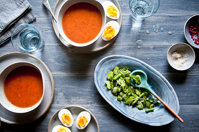 Gazpacho  With Fava Bean Asparagus Salad