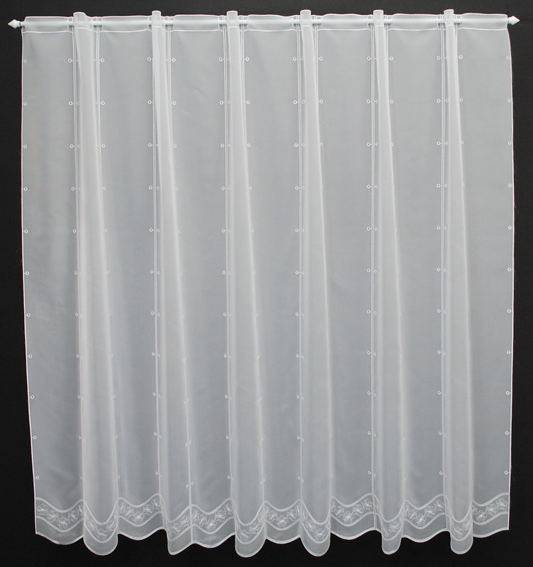 16 cm raffrollo scheibengardine mit blumenstickerei 140 cm. Black Bedroom Furniture Sets. Home Design Ideas
