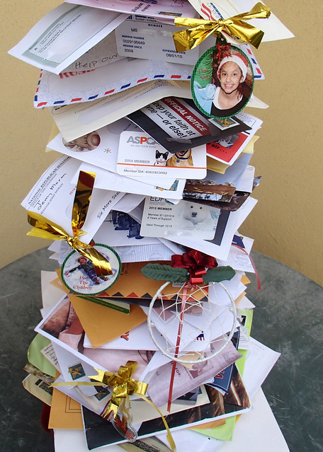 Junk Mail Christmas Tree close up