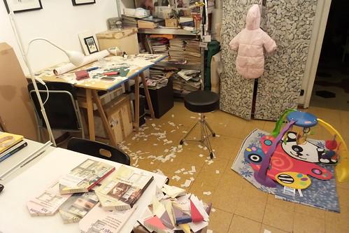 Lo studio della neomamma artista