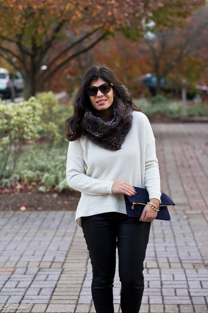 white sweater, black coated jeans, fur cowl-2.jpg