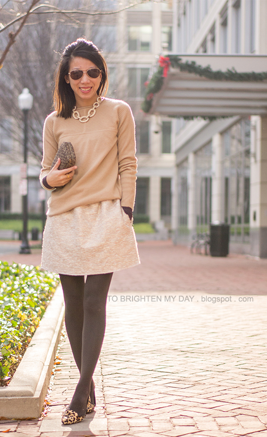 chain necklace, camel sweater, tweed skirt, tweed clutch, leopard flats