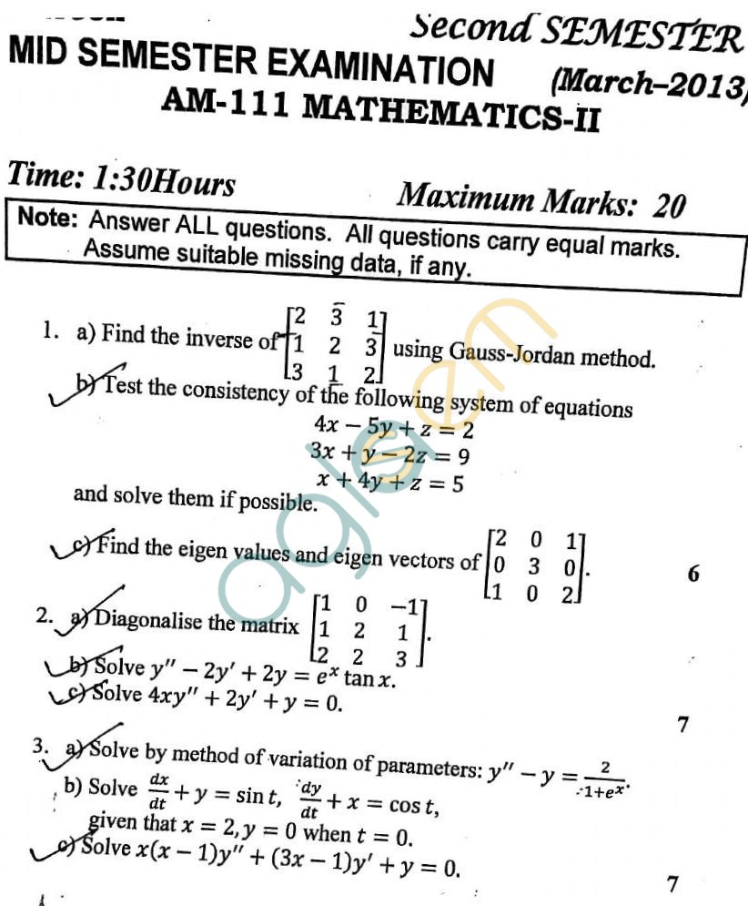 DTU: Question Papers 2013 – 2 Semester - Mid Sem - AM-111