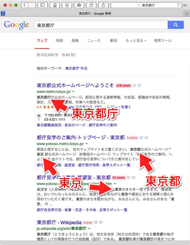 東京都庁で検索