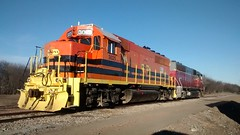 Missouri and North Arkansas GP40-2 in the Texas and Northeastern yard at Sherman Texas
