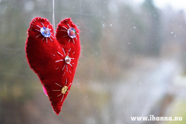 Red Wool Heart in Window