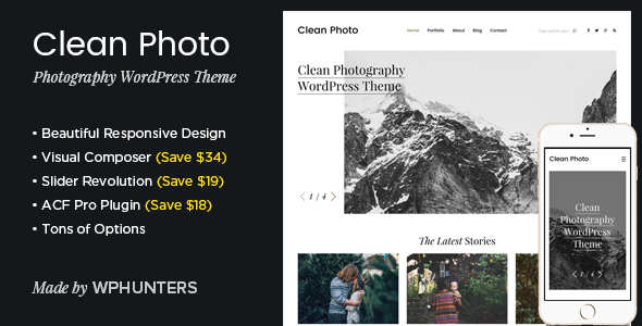Clean Photo v1.7.5 - Photography Portfolio WordPress Theme