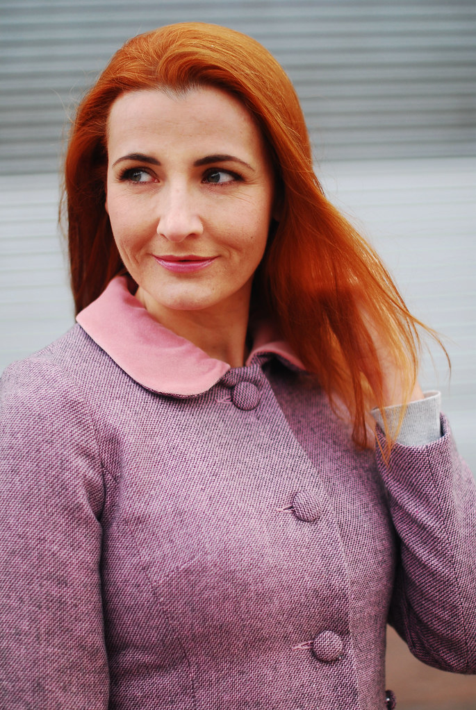 Autumn/Winter style: Peter Pan collar lavender coat, tan boots, red bag