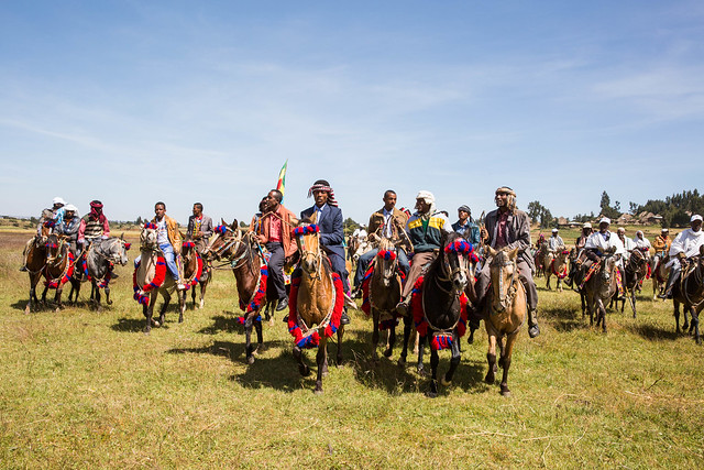 Kimbibit woreda community welcomes participants of Global Handwashing Day participants colourfully with their decorated horses