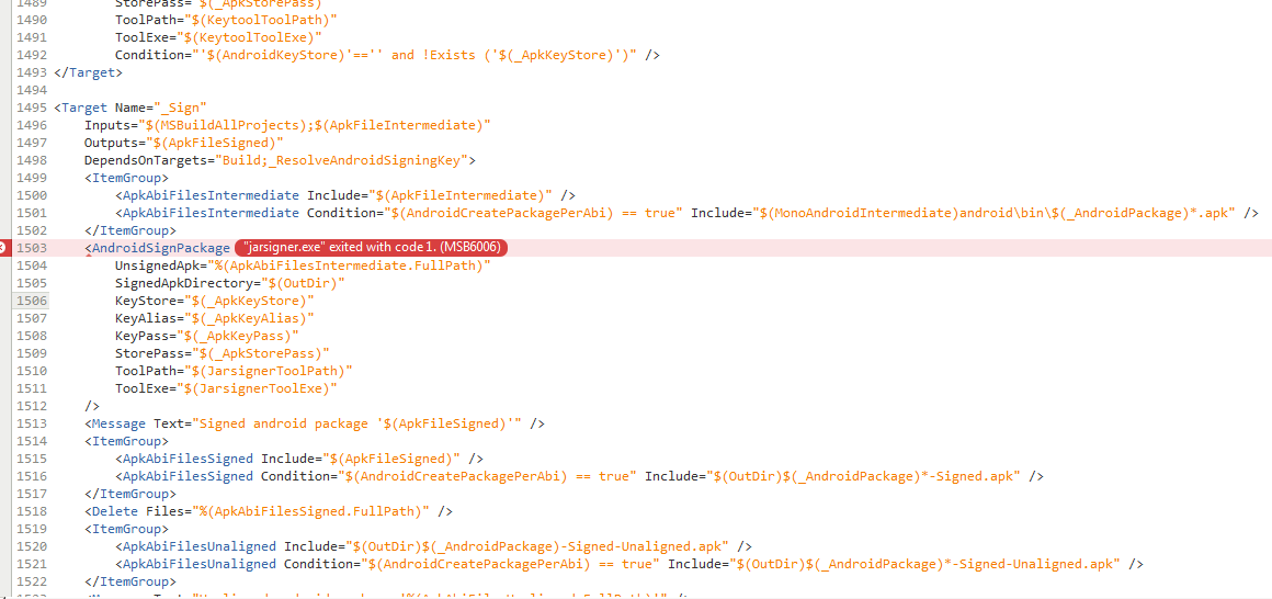 jarsigner exe exited with code 1  MSB6006 — Xamarin