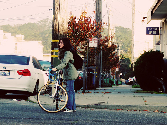 Maite with bike; The Sunset, San Francisco (2014)