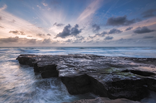 longexposure sunset newzealand seascape clouds waves auckland nz northisland westcoast muriwai lateafternoonlight coastallandscape rockplatform colourimage leefilters nikond800 lee09nd lee06gndhard nikkor160350mmf40 solmetageotaggerpro2