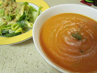 Tomato Lentl Soup with Cumin and Fresh Dill; Classic Caesar Dressing' Brazil Nut Parmesan