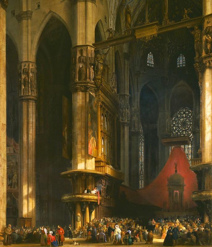 Luigi Bisi - Interno del Duomo di Milano (1840)