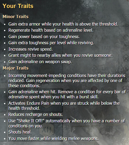GW2 Warrior traits