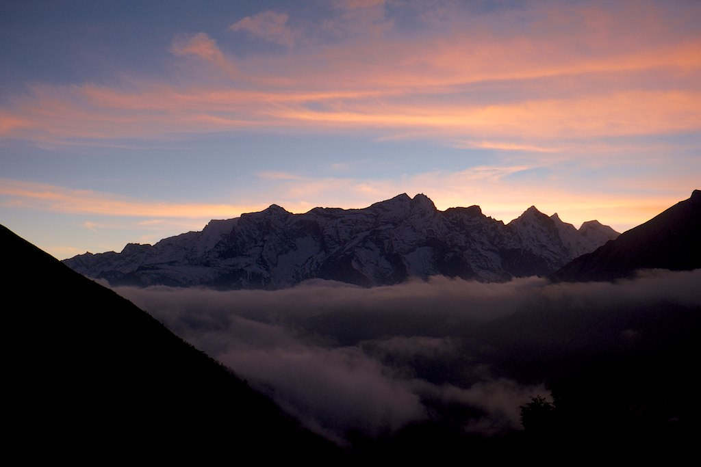 Sunset Over The Mountains In Tengboche