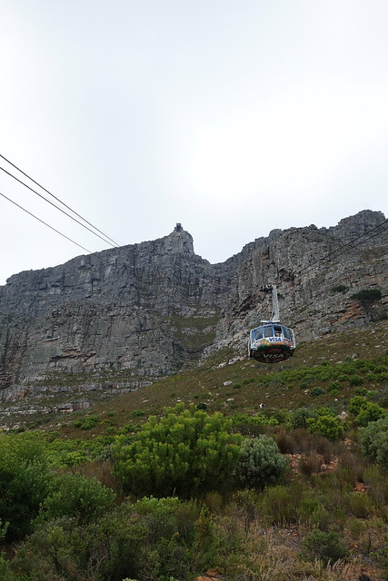 Looking up to the upper cableway station