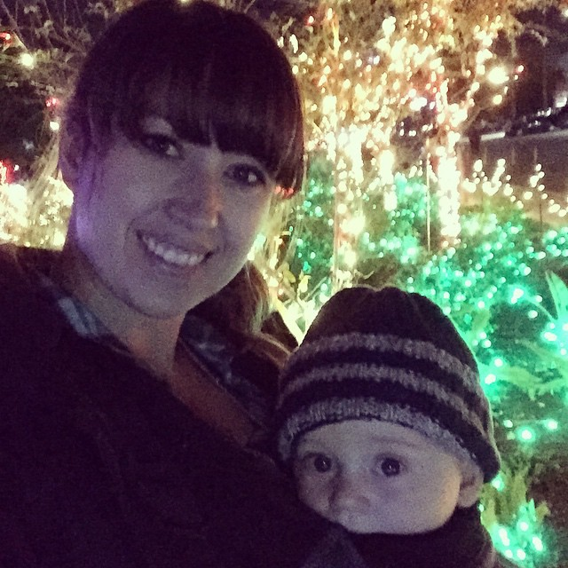 Archer's first Christmas light adventure - Mesa Mormon Temple. Next week, zoo lights! by bartlewife