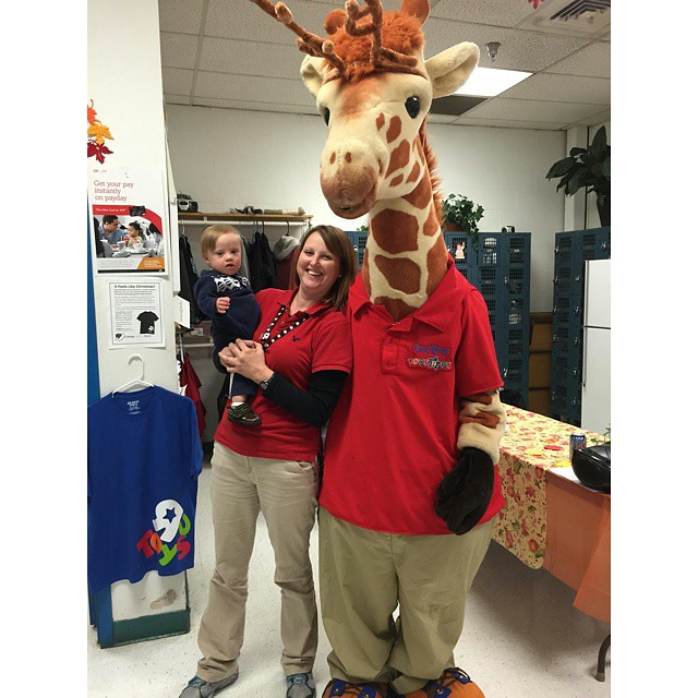 One of the perks of having an aunt who works in HR at Toys R Us is hanging out in the break room with Geoffrey.