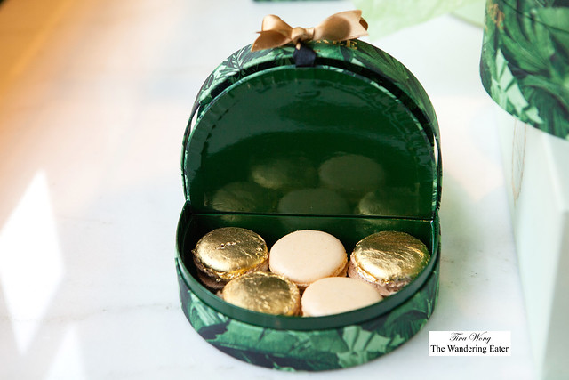 Ladurée Holiday 2014 Exotic Basket Box filled with limited edition chocolate macarons topped with gold leaf and vanilla macarons