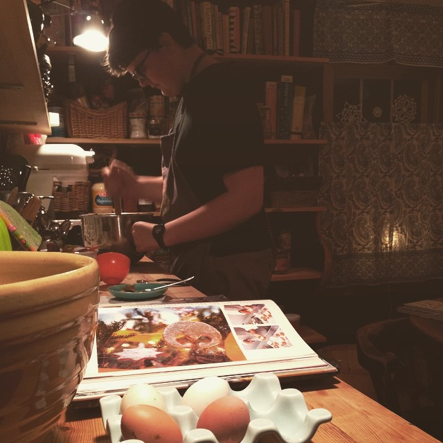 I came downstairs and found Adam baking. #teen #unschooling